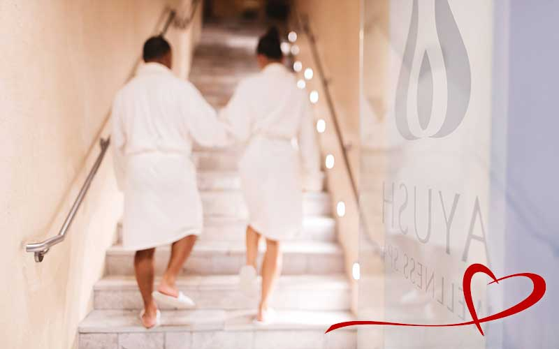 Couple going for spa treatments