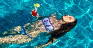 Girl keeping cool in summer
