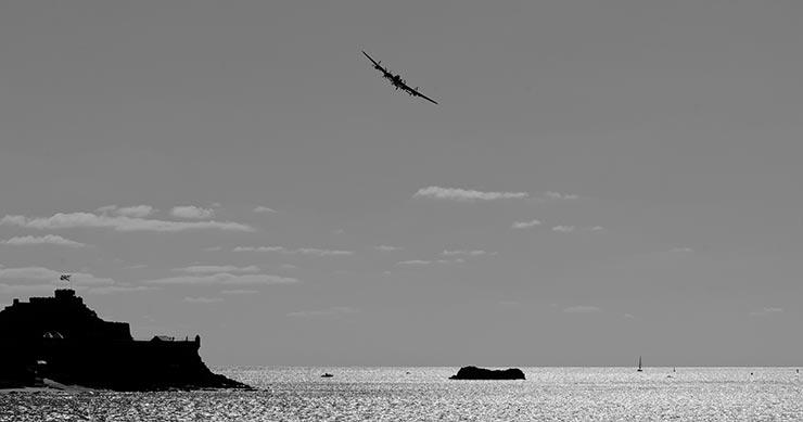 Lancaster Bomber over Elizabeth Castle