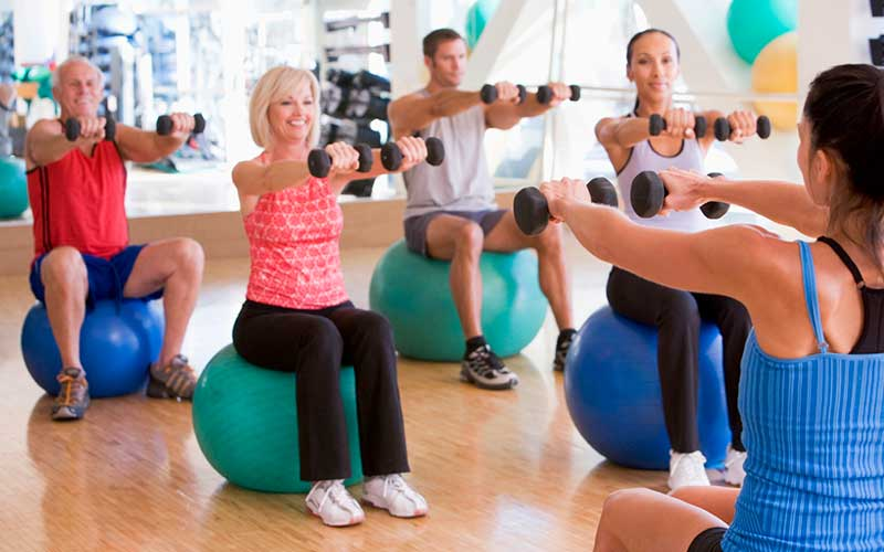 People in an exercise class