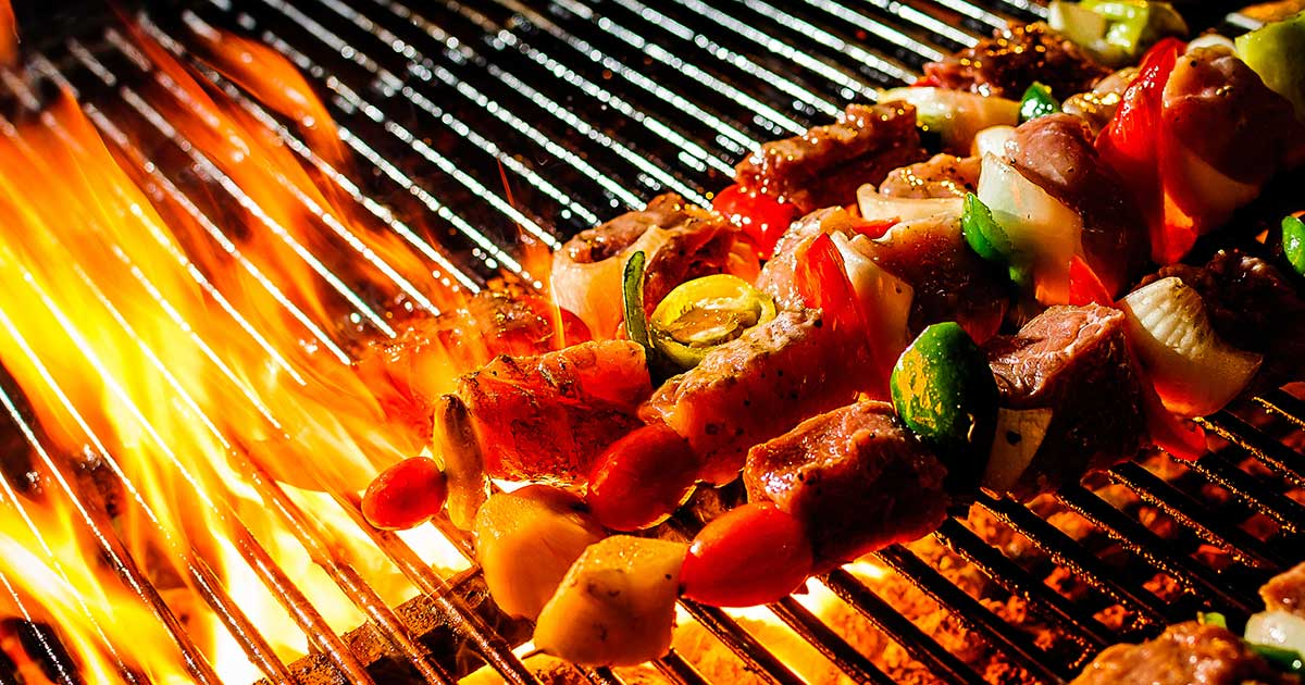 kebabs on a bbq